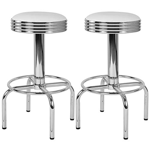 Modern Classic Design Metal Dining Round Backless Barstools Extra Wide Quadruple Base Lounge Diner Restaurant Commercial Seats Home Office Furniture - (1) White Vinyl Seat #2203 by KLS14 (Image #3)