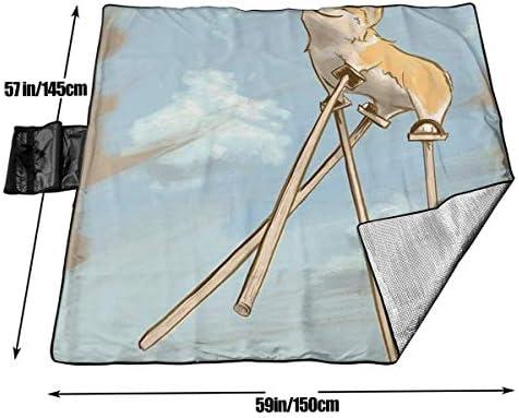 Suo Long Corgi Dreams Tapis de Pique-Nique de Plage Extra Large