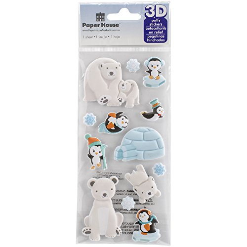 Paper House Productions STP-0029E Polar Animals Puffy Stickers (3-Pack) (Polar Scrapbooking Paper)
