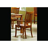2 Solid Wood Brown Finish Mission Dining Arm Chairs