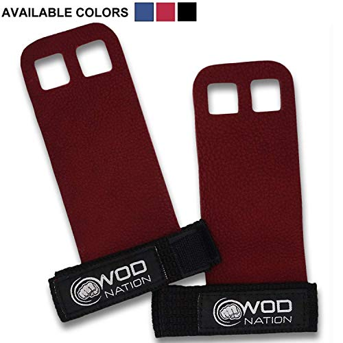 WOD Nation Leather Barbell Gymnastics Grips Perfect for Pull-up Training, Kettlebells, Gymnastic Rings (Red, Small) ()