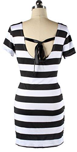 U-shot da donna a strisce bowknot Backless Sundress Casual Slim Mini Vestito