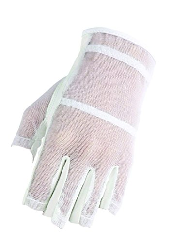 HJ Glove Women's White Solaire Half Length Golf Glove, Large, Left Hand