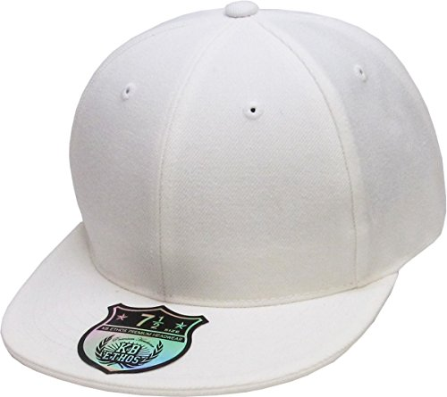 Fitted Flat Brim Cap - KBETHOS KNW-2364 WHT (7 5/8) The Real Original Fitted Flat-Bill Hats True-Fit, 9 Sizes & 20 Colors
