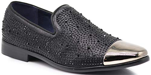 Shoes Black Tuxedo Toe New - SPK12 Men's Vintage Fashion Sparkle Rhinestone Patent Toe Designer Dress Loafers Slip On Shoes Classic Tuxedo Dress Shoes (11 D(M) US, Black_New)