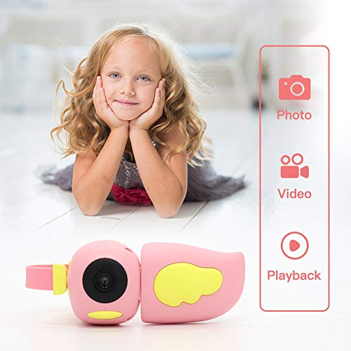 Mini DV Camera,MERLINAE Kids Video 12 MP Digital Camera for Girls 16 GB Card Rechargeable 1080P Toy 2.4 Inch HD Screen Recorder Gifts for 3-12 Years Old Girls Toddlers Pink