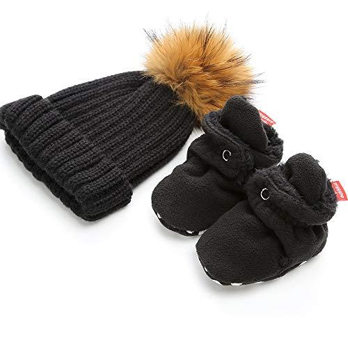 - Isbasic Unisex Baby Cozy Fleece Lined Booties Non-Slip Infant Winter Warm Socks Shoes + Knit Pom Pom Hat (6-12 Months, H-Black)