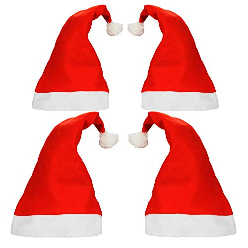 SpringPear® 4x Christmas Hats for Xmas Santa Claus Costume Shopping Mall Promotion Christmas Market Cap (2x Large for Adults & 2x Small for Kids) ()