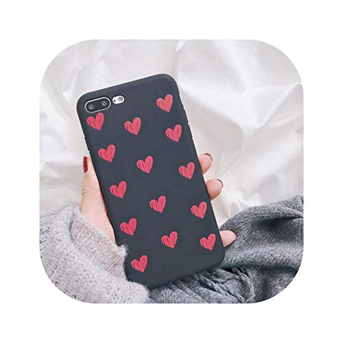 Retro Red Love Heart Phone Case for iPhone X Case for iPhone 6 6S 7 8 Plus Fashion Soft TPU Silicone Cases Ultra Slim Cover,Style 5,for iPhone 8Plus ()
