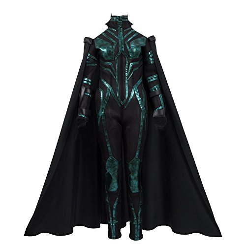 VOSTE Hela Costume Halloween Cosplay Outfits with Cloak for Women (Female Thor Cosplay)