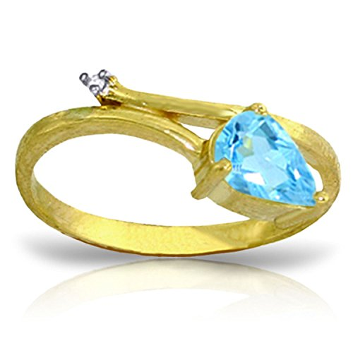ALARRI 0.83 Carat 14K Solid Gold Love Can't Hurt Blue Topaz Diamond Ring With Ring Size 7 by ALARRI