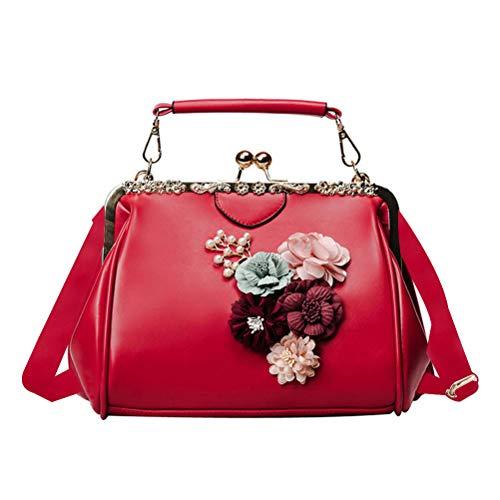 Abuyall Retro Kiss Lock Pu Leather Chains Minimalist Crossbag Bag Diamonds Appliques Shoulder Purse Handbag Totes Bag Satchel Ladies Pt11