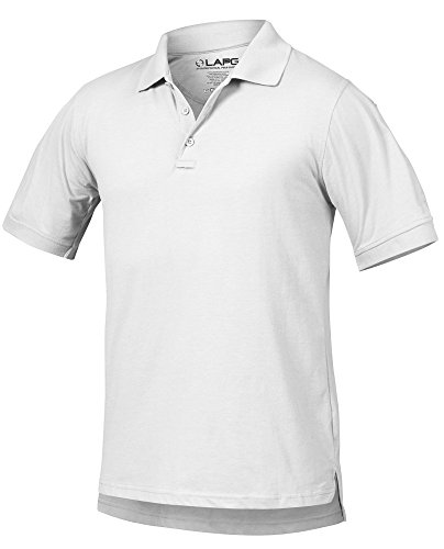 LA Police Gear Men Antiwrinkle Operator Tactical Short Sleeve Polo Shirt-White-M