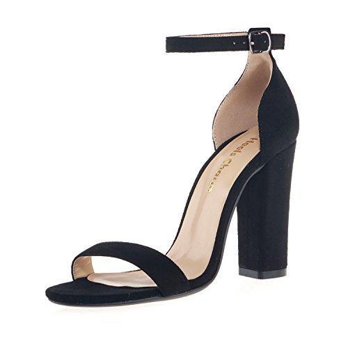 (Women's Strappy Chunky Block Sandals Ankle Strap Open Toe High Heel for Dress Wedding Party Evening Office Shoes Velvet Black Size 8 )