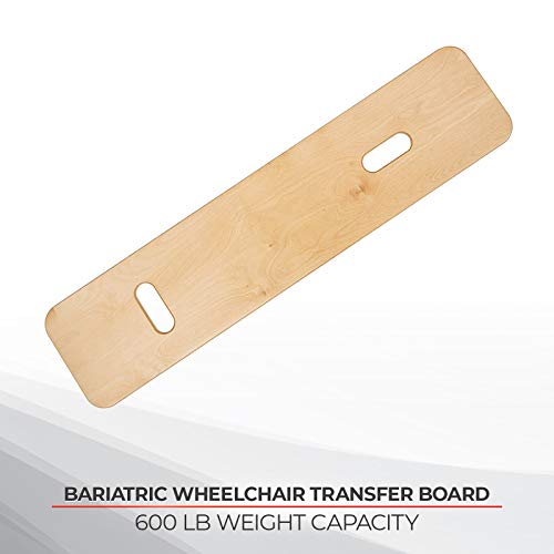 "Sammons Preston Bariatric Transfer Board for Wheelchair Users, Sliding Board with Handles, 35"" Medical Transfer Board, Slide Board for Overweight Users, Strong Wood Slider Board, 600 lbs. Capacity"