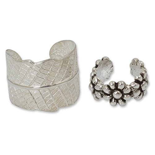 Sterling Two Leaves - NOVICA Set of 2 Leaf and Flower .925 Sterling Silver Ear Cuffs 'Foliage and Flowers' (pair)