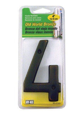 (HY-KO Products BR-42OWB/4 Prestige House Number 4 (Four), 4