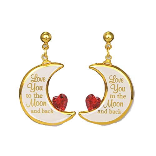 Half Moon Glass Earrings Love You to The Moon and Back Handcrafted with 22K Gold Accents by Glass Baron from Roy Rose Jewelry ()