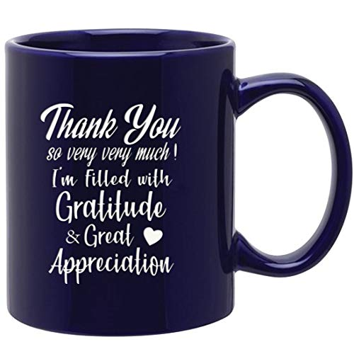 Novelty ceramic Mug for saying Thank you so very very much ! 11oz cobalt Engraved Both Sides ceramic coffee mug, Gifts for Family, Friends, Coworkers,Teacher,Boss -