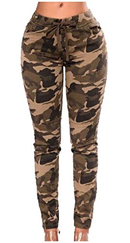 DressU Womens Girls Patterned Straps Army Camo Standard-fit Pencil Pants AS1 XS (Girls Patterned Ski Pants)