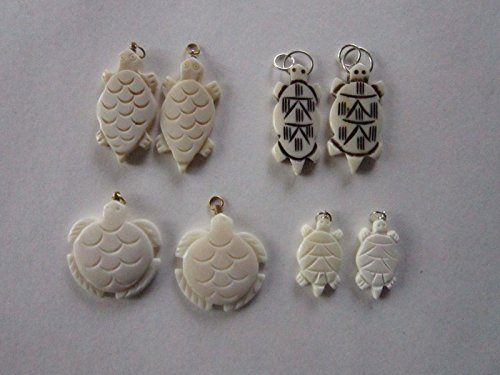 (8 Turtle Pendants Buffalo Bone Jewelry Crafts Carved Necklace Charms Assortment)