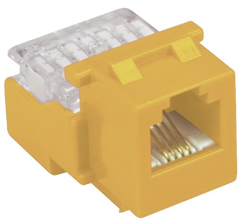 Allen Tel AT26-04 Category 3 Compact Jack Module, Yellow, 1 Port, EIA/TIA 568A/B Wiring, 110 Termination, 6 Conductor