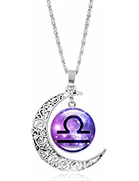 Women's Zodiac Necklace 12 Constellations Pendant Clavicle Chain Necklaces