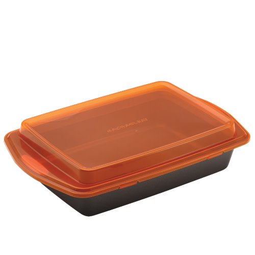 Rachael Ray Nonstick Bakeware 9-Inch by 13-Inch Covered Cake Pan, Gray with Orange Lid and Handles