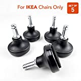 Bell Glides Office Chair Wheels Replacement Compatible with (IKEA Office Chairs Only), 10mm Diameter Size Stem, Chair Casters Replacement (Felt Bottom - Low Profile)