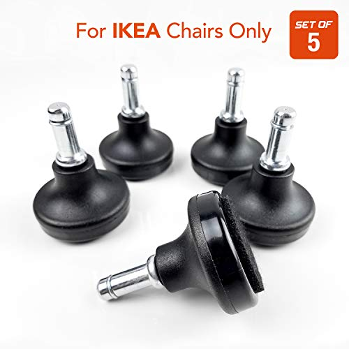 Bell Glides Office Chair Wheels Replacement Compatible with (IKEA Office Chairs Only), 10mm Diameter Size Stem, Chair Casters Replacement (Felt Bottom - Low Profile) by Mahja (Image #6)