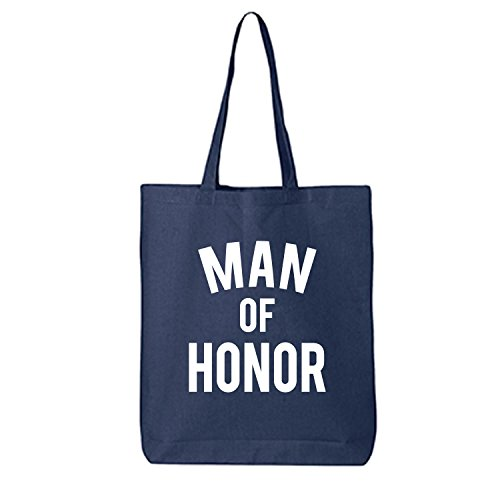 MAN OF HONOR Cotton Canvas Tote Bag in Navy - One Size