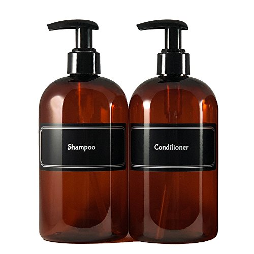 Bottiful Home-16 oz Refillable Empty Durable Translucent Amber PET Plastic Shampoo & Conditioner Bottle Set-B&W Pre-Applied Fully Waterproof Labels-100% Rust-FREE, Clog-FREE, Drip-FREE