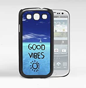Good Vibes Quote with Bright Blue Ocean View Hard Snap on Cell Phone Case Cover Samsung Galaxy S3 I9300