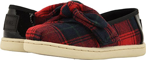 Price comparison product image TOMS Kids Baby Girl's Alpargata (Infant/Toddler/Little Kid) Red Tartan Plaid/Bow 7 M US Toddler