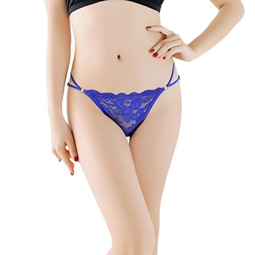 V-string Thong, Balakie Women Sexy Lace Briefs Panties Flower Embroidery Openwork G-string Lingerie Underwear (One Size, Blue)