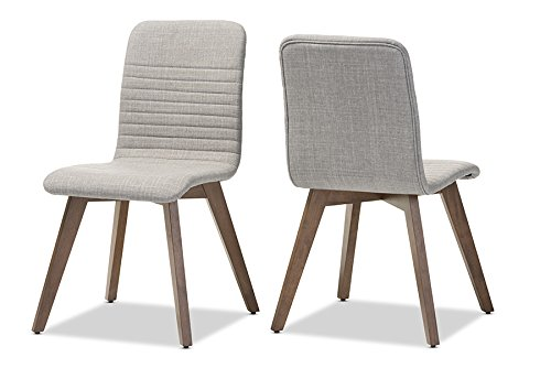 Baxton Studio 2 Piece Sugar Scandinavian Style Fabric Upholstered Walnut Dining Chair Set, Light Gray