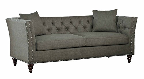(Homelegance Marceau Tuxedo Style Sofa with Flared Arm and Double Nailhead Accent, Button Tufted with Two Toss Pillows,)