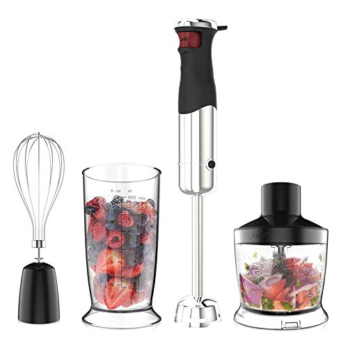 Proscenic Hand Immersion Blender, 800 Watt Powerful Smart Speed Control Hand Blender Set, 4-in-1 Handheld Stick Blender Mixer Includes Food Chopper, Stainless Steel Blades, Whisk, and BPA-Free Beaker
