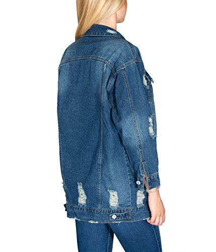 BetterStylz - Chaqueta - Blusa - para mujer Stone Washed Destroyed