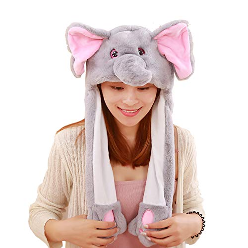 Elephant Hat Cap Animal with Airbag Jumping Ear Movable Plush TIK Tok Gift DOUYIN