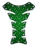 Motorcycle sportbike Green diamondplate rivets 3d gel Tank Pad tankpad protector