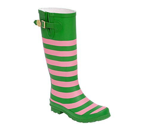 Pink and Green Rainboots (Brushed Gold Footwear)