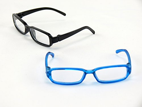 Two Pair of Black and Blue Reading Glasses | Fits 14