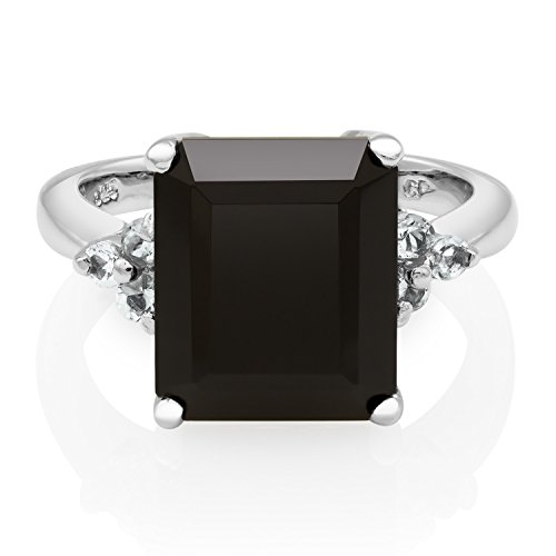 Cut Onyx Gemstone Ring (Pearlzzz Sterling Silver Emerald Cut Black Onyx and White Topaz Ring, Size 7)
