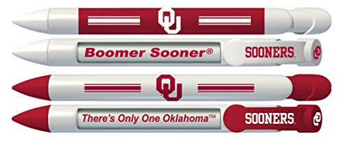 University of Oklahoma Sooners Greeting Pen Rotating Message Pens - 4 Pack (8009) Officially Licensed Collegiate Product