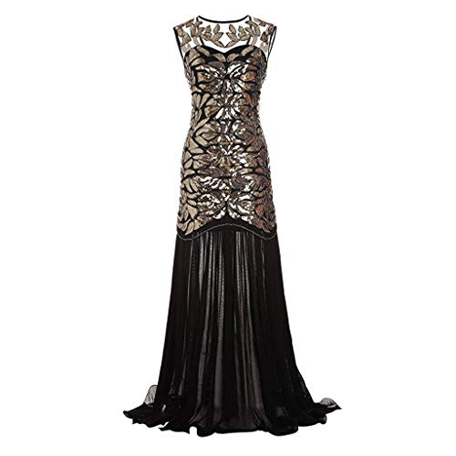 ss for Women Vintage Sequined Patchwork Sleeveless Dress Maxi Long Evening Prom Dress ()