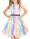 Funnycokid Classic Girls Summer Dress Sleeveless Rainbow Unicorn Holiday Princess Dresses