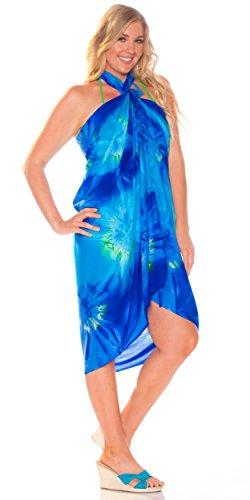 Efecto Covering mujeres Dye para mundo 1 turquesa Tie Sarongs Sarong azul de HpqtqR