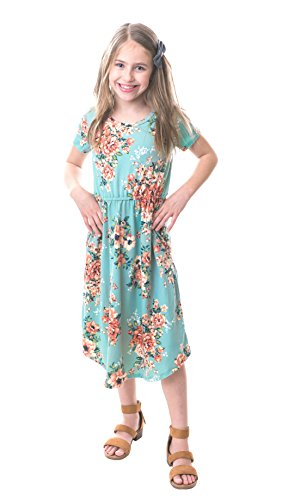 Chrome Classic Girls Midi Floral Dress w/Short Sleeves Made in The USA (Mint, Large) -