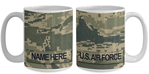 (U.S. Air Force (USAF) Senior Master Sergeant (SMSgt) E8 Coffee Cup - Personalized 15oz Military Ceramic Mug - Customize with Name...)